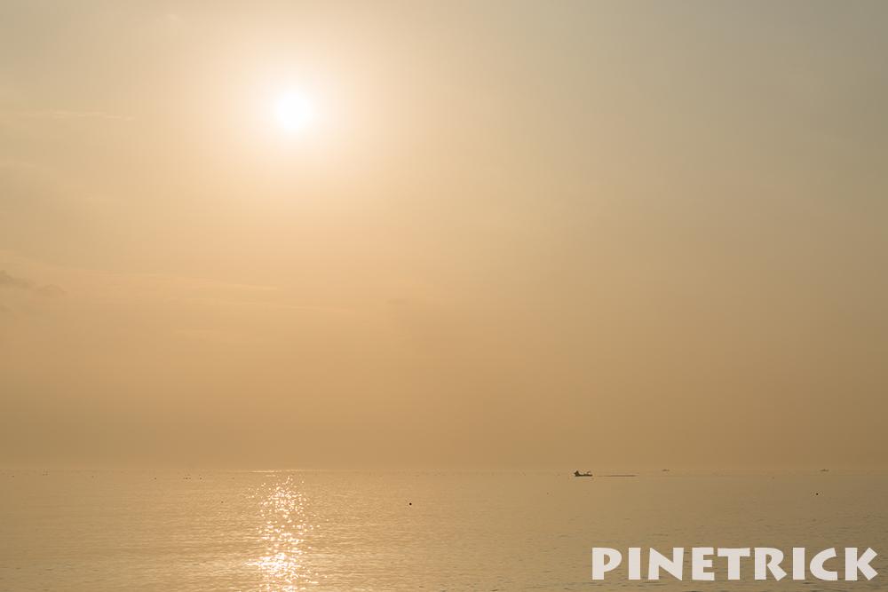 伊達市 夕日 漁船