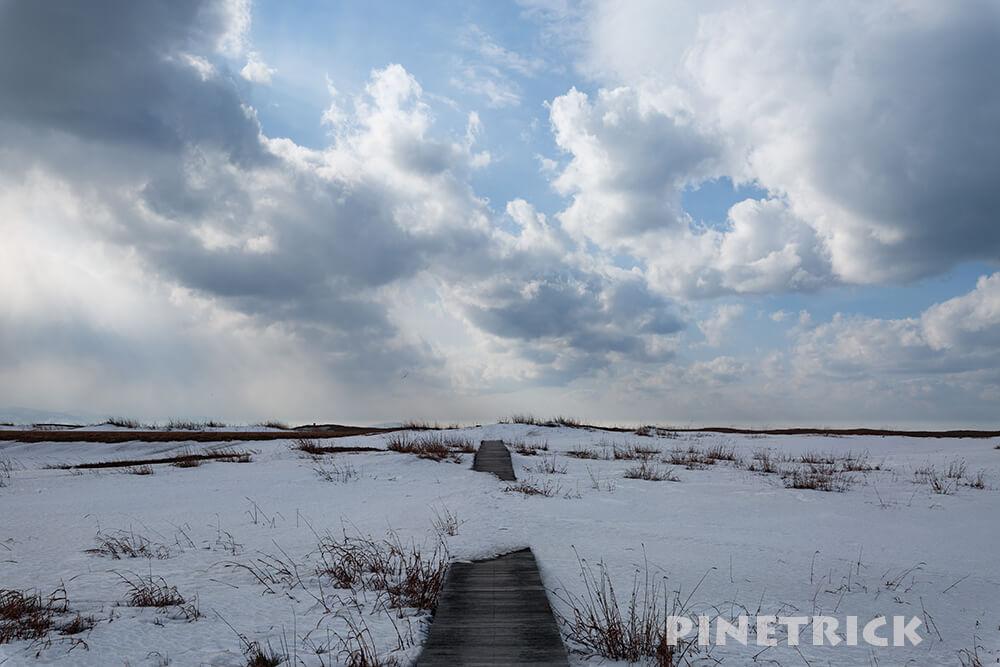 札幌市 石狩灯台 木道 残雪 石狩浜