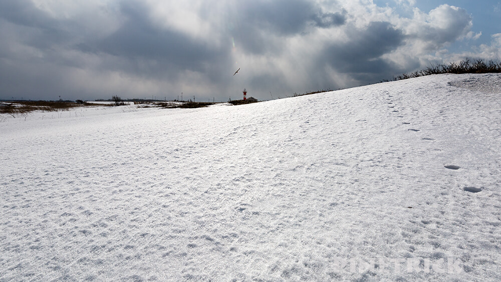 札幌市 石狩灯台 雪原 太陽