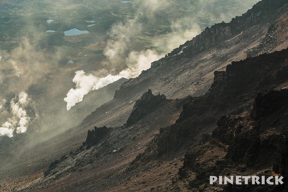 旭岳 山頂 噴煙 火口