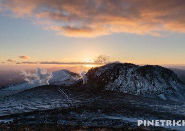 樽前山 サンセット登山 西山 東山山頂 溶岩ドーム 夕日 噴煙