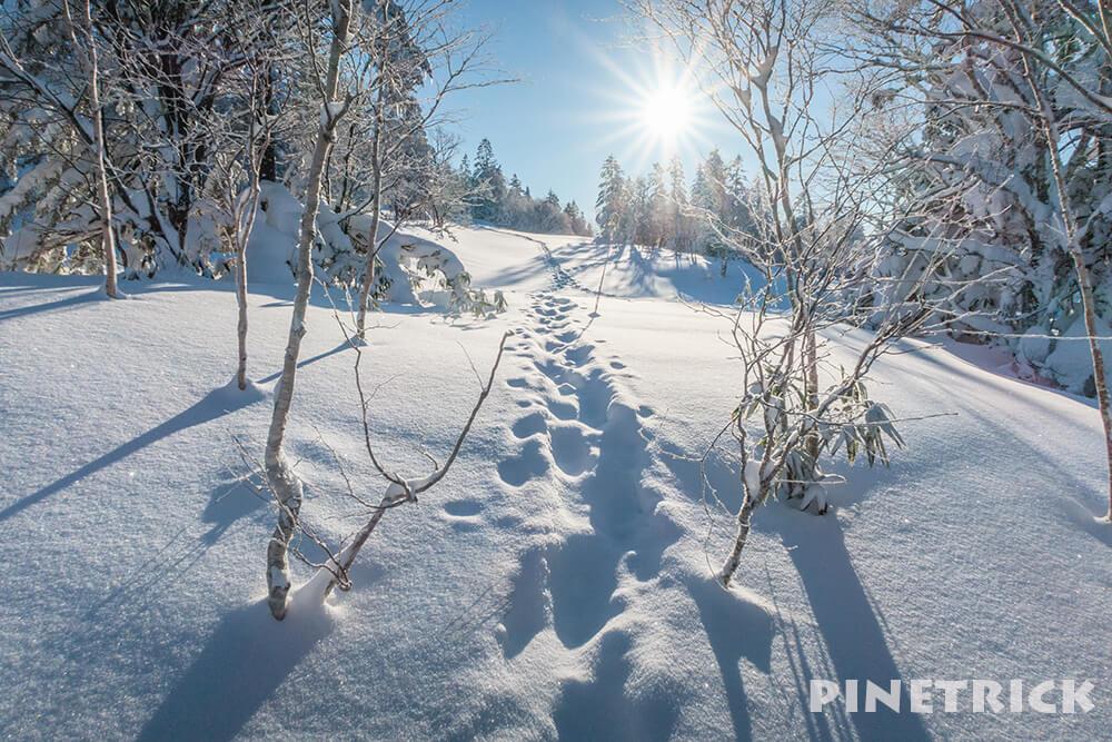 徳舜瞥山 トレース 冬 朝日 太陽
