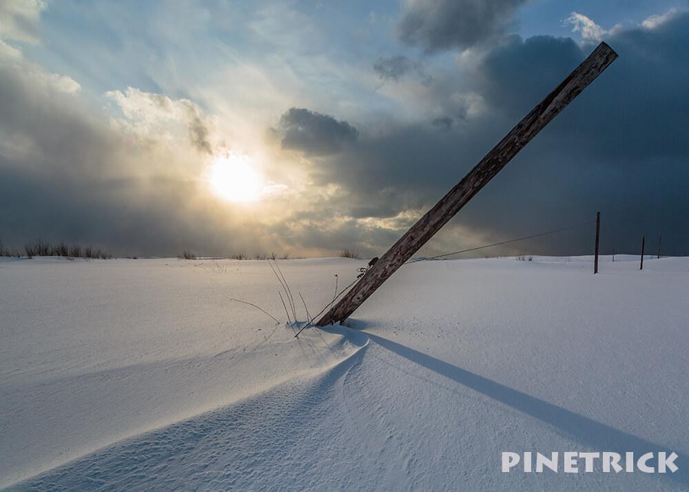 電柱 雪原 太陽 逆光 電線