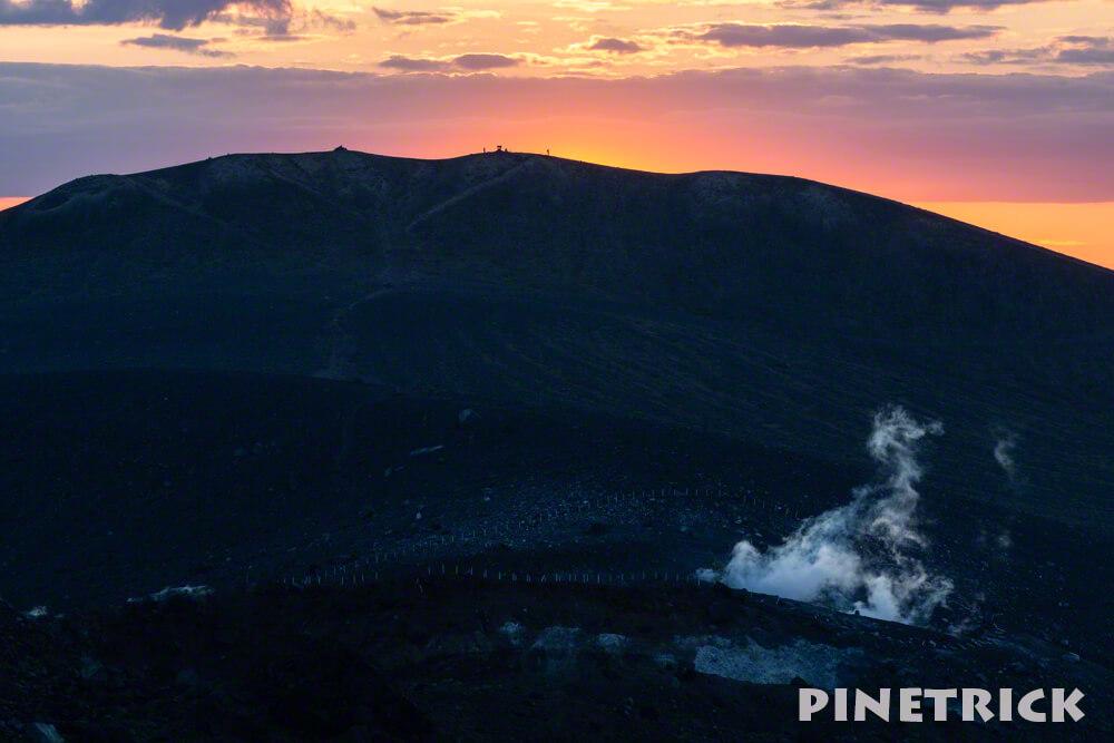 樽前山 東山山頂 ご来光 西山から 噴煙