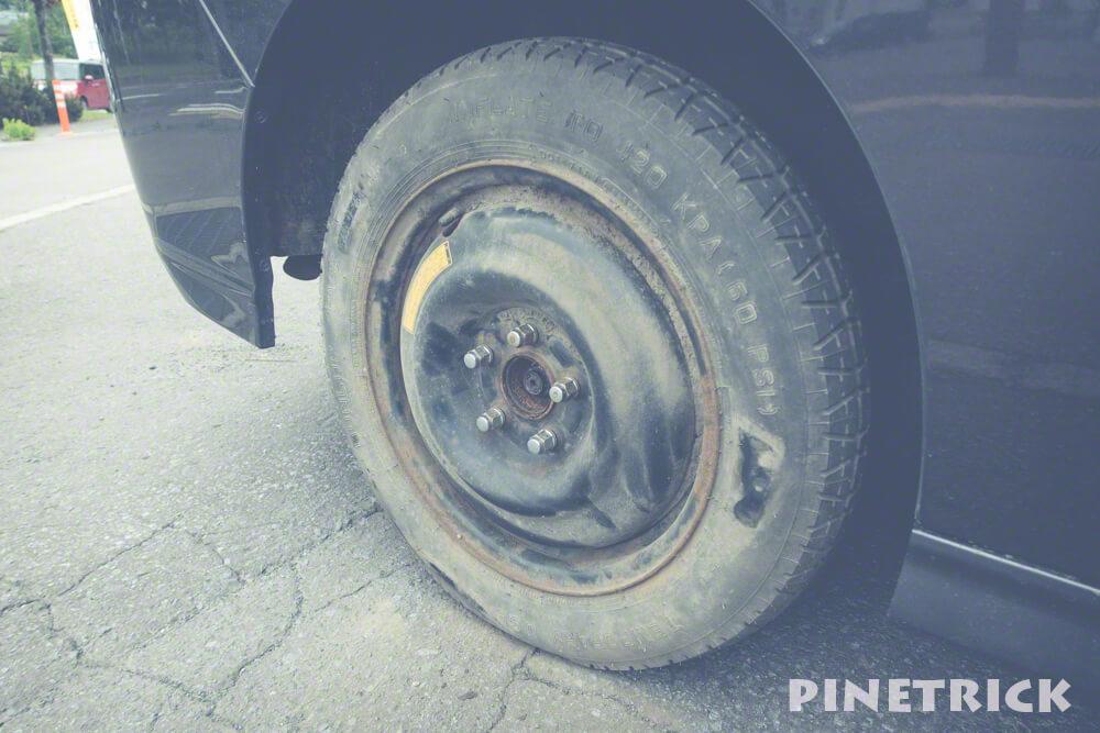 JAF  タイヤ交換 パンク スペアタイヤ