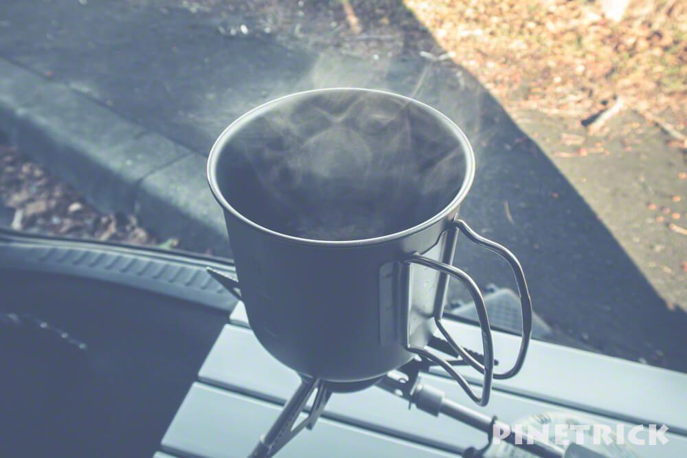 アウトドア キャンプ飯 湯気 スノーピーク チタントレック 900