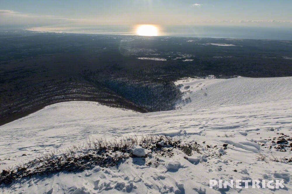 樽前山 太平洋 太陽 登山 2019年 1月 夏道 雪原 原生林