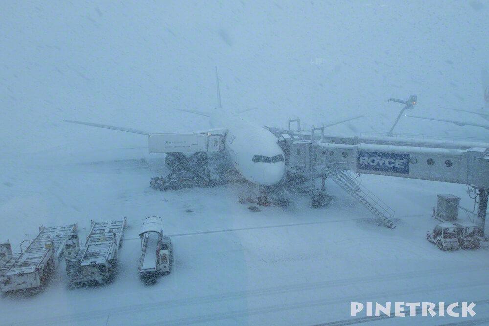 新千歳空港 飛行機 ジャンボ 吹雪 欠航