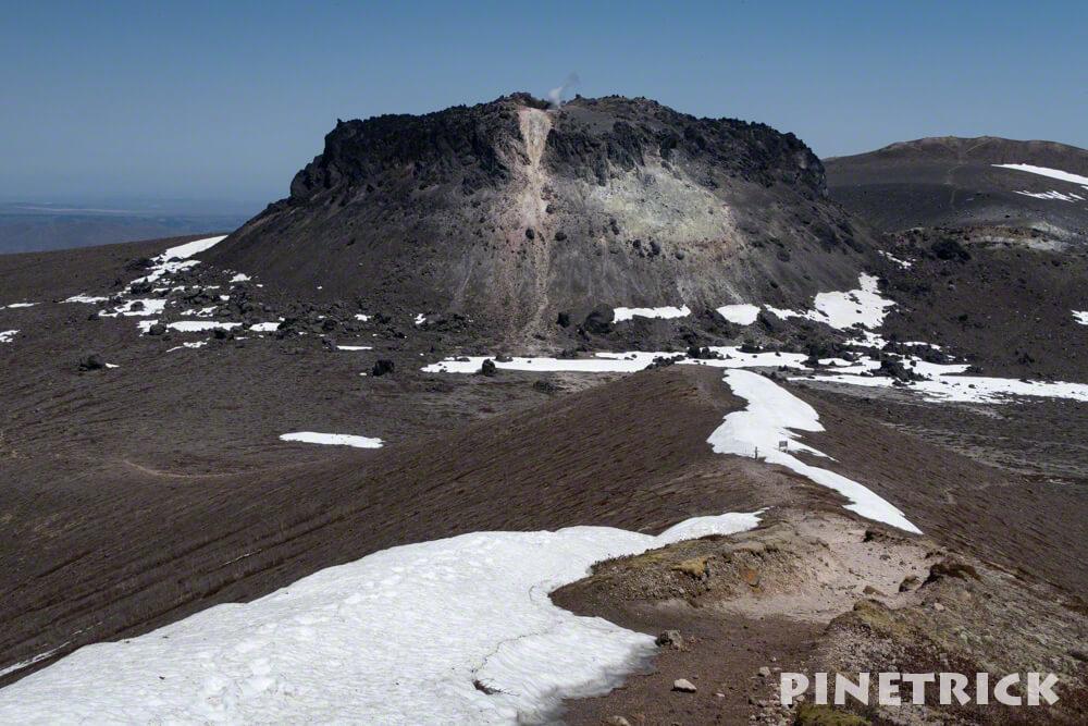 西山 樽前山 溶岩ドーム 噴煙 残雪