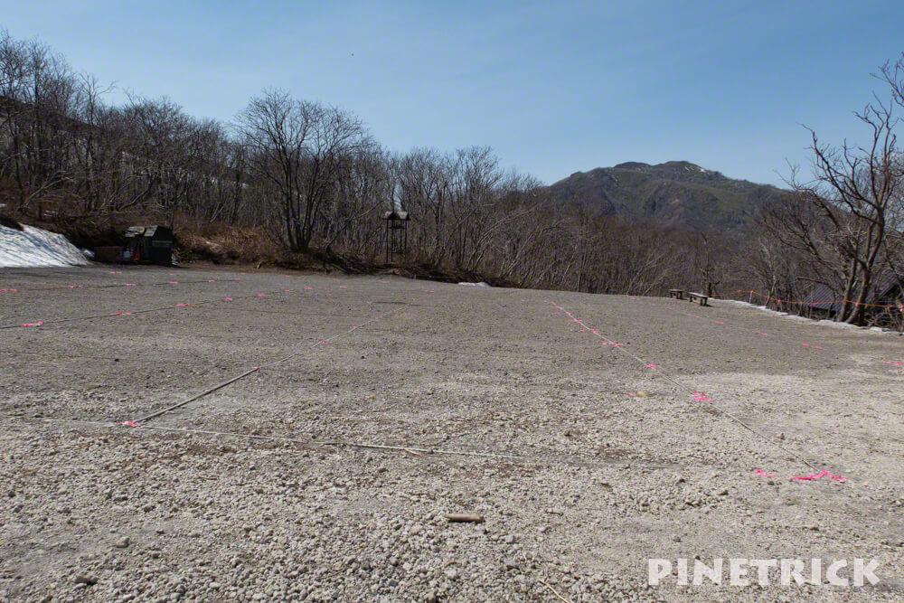 7合目登山口 駐車場 樽前山 ハイキング トレッキング 登山 トラロープ ピンテープ