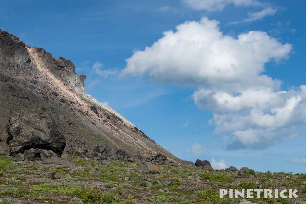 溶岩ドーム 雲 煙 噴煙 トレッキング 樽前山 登山