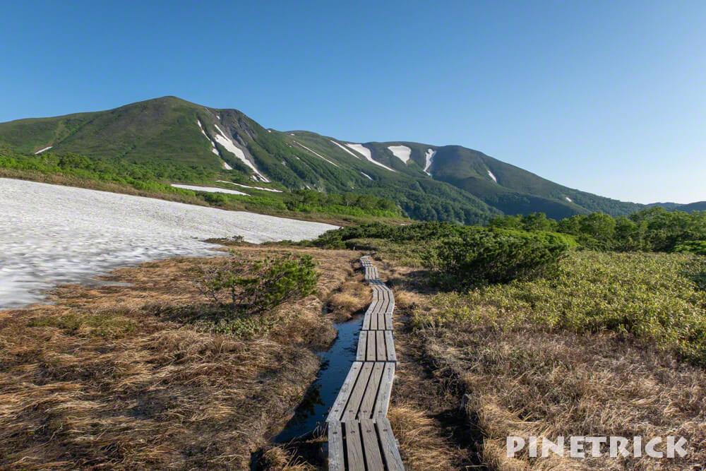 登山 第一花園 木道 青空 緑岳 大雪高原温泉