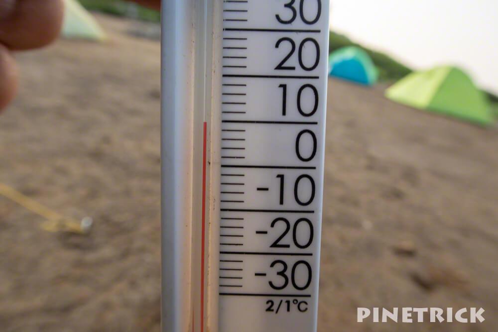 気温計 温度 テント場 朝 冷え込む 白雲岳避難小屋