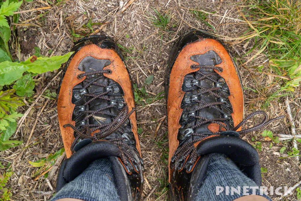 目国内岳 登山靴 LOWA ティカム 濡れる グショグショ