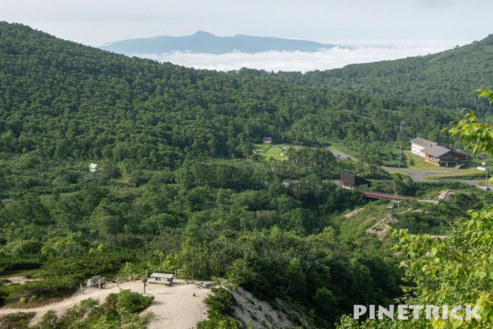 昆布岳 ニセコ五色温泉野営場 テント 登山口 イワオヌプリ 階段