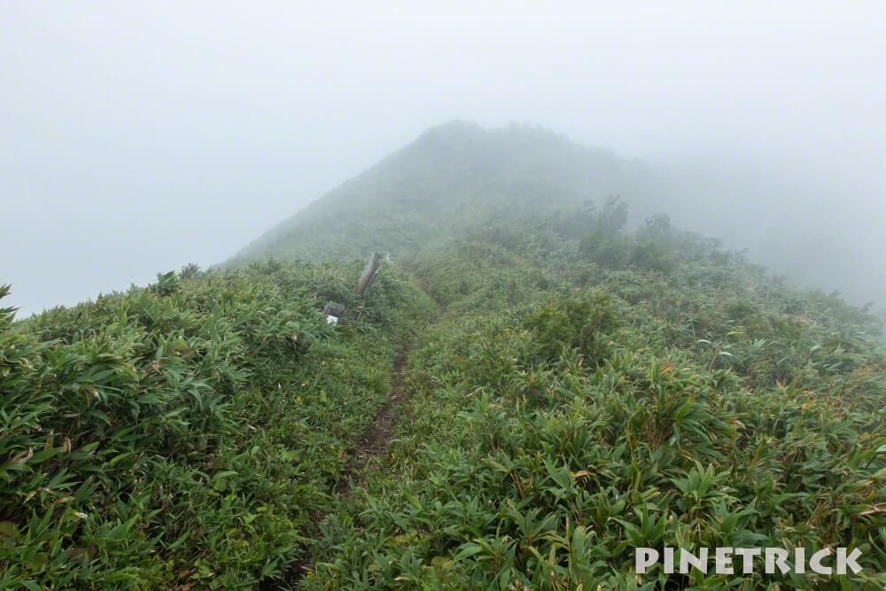 神居尻山 稜線 Aコース 登山 ガス 強風