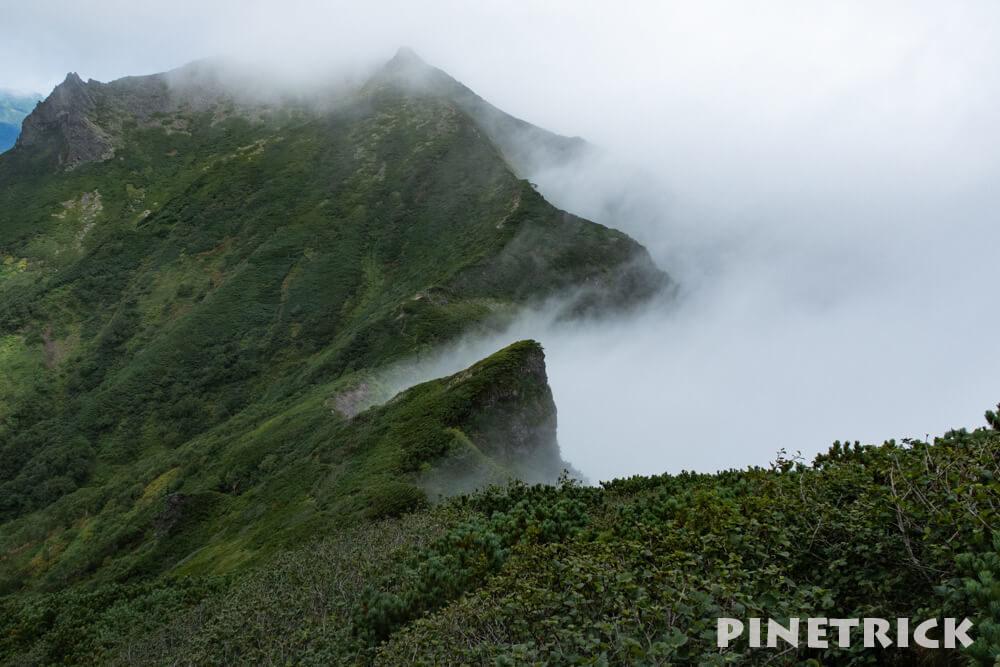 ニペソツ山 登山 幌加温泉コース 下山 ガス