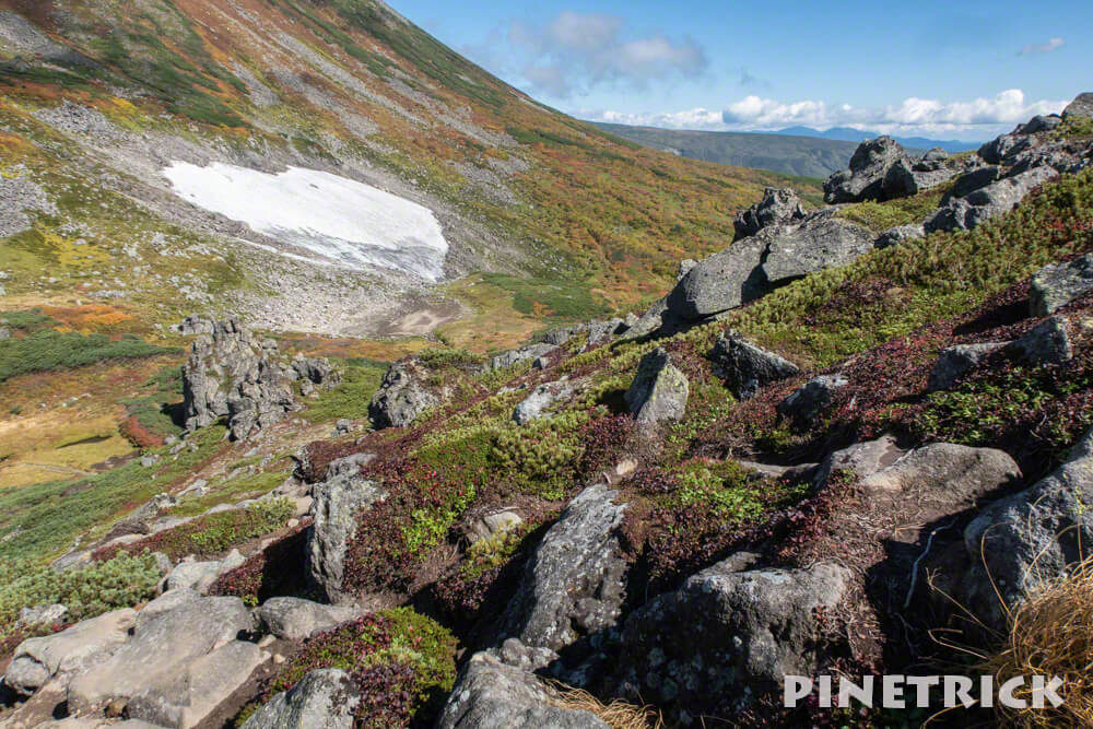 トムラウシ山 南沼キャンプ指定地 テント泊 登山 短縮コース 北海道 万年雪 紅葉 岩場