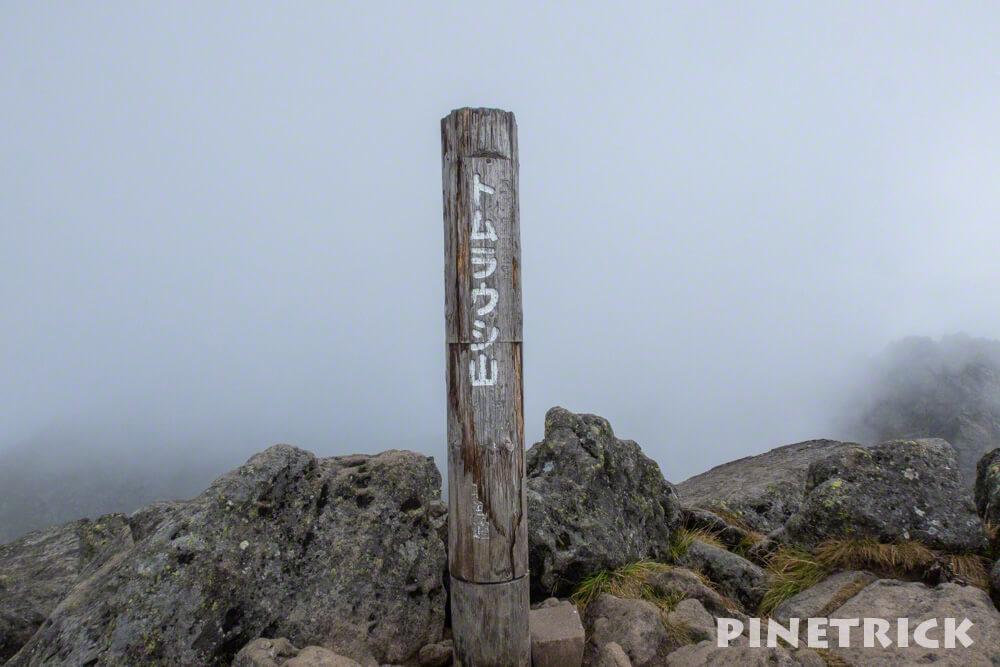 トムラウシ山 南沼キャンプ指定地 テント泊 登山 短縮コース 北海道 山頂 ガス