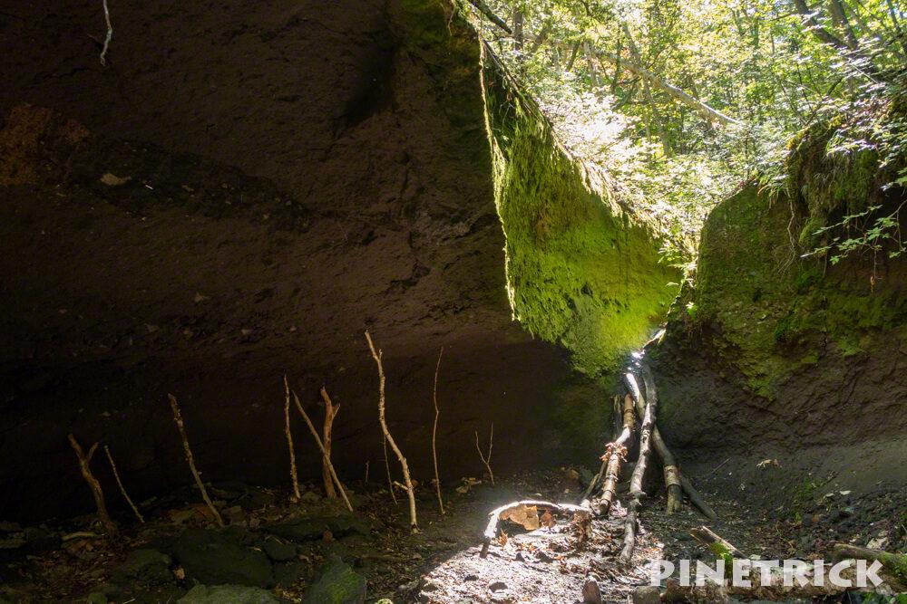 楓沢 苔の回廊 第三回廊 ハイキング つっかえ棒 足場 倒木 岩場 支笏湖 観光スポット