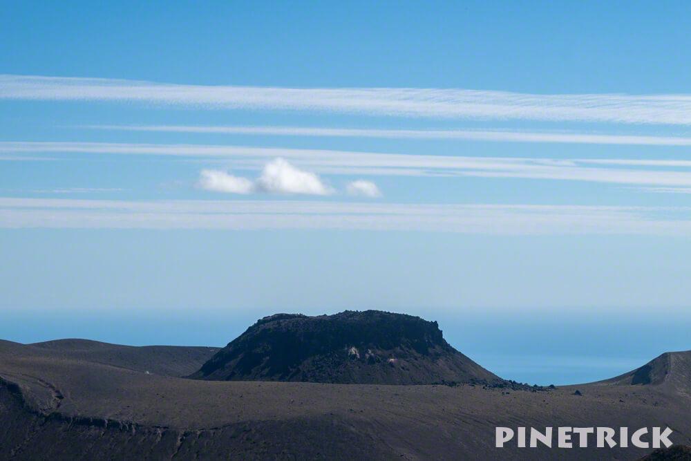 樽前山 溶岩ドーム 雲 ライン