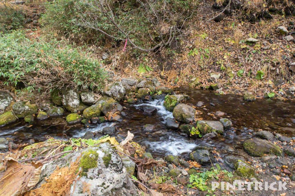 愛山渓温泉 登山 樹林帯 紅葉 沼の平 三十三曲りコース 永山岳 渡渉