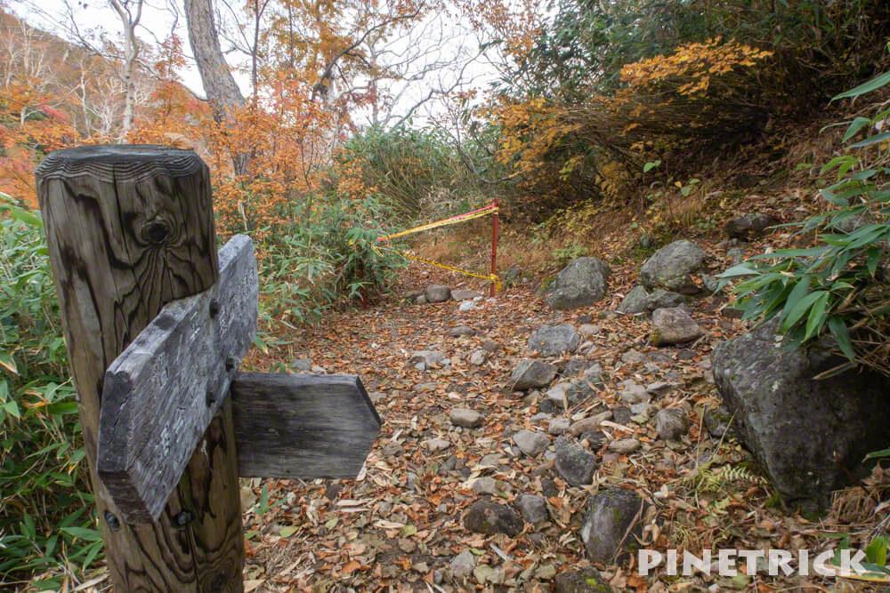 愛山渓温泉 登山 樹林帯 紅葉 沼の平 三十三曲りコース 永山岳 昇天の滝 村雨の滝 通行止め