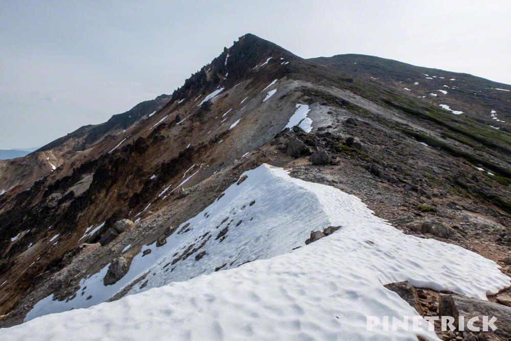 愛山渓温泉 登山 残雪 稜線 北海道 登山 安足間岳
