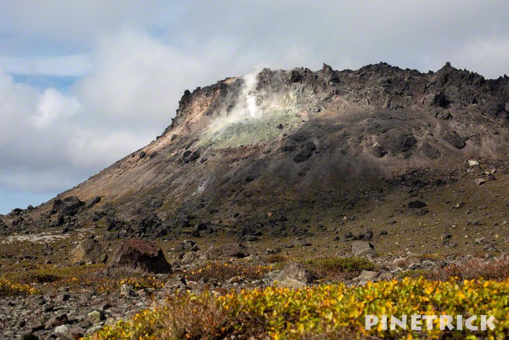 樽前山 溶岩ドーム 紅葉 雲 噴煙 登山 苫小牧市 北海道