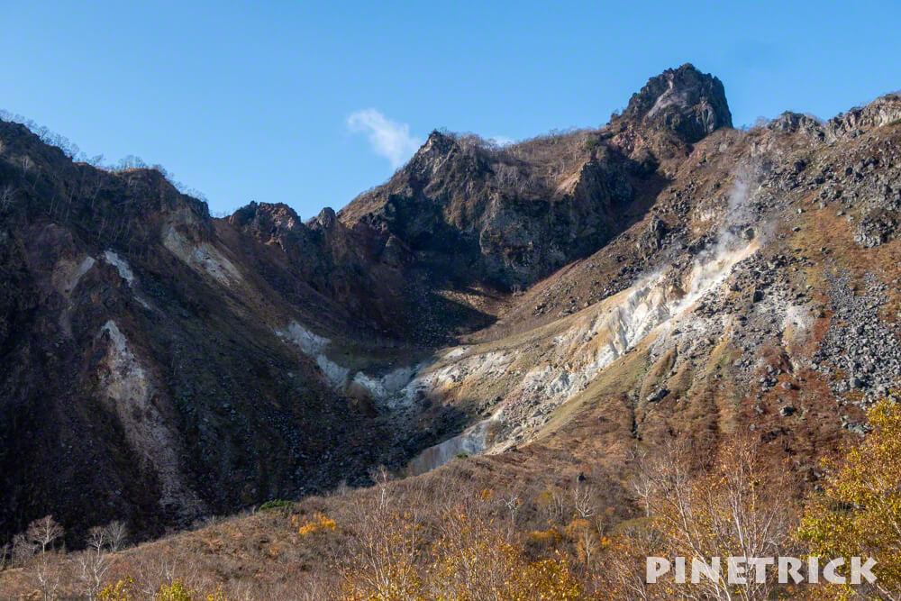 恵庭岳 山頂 第一見晴台 紅葉 登山 北海道 秋 噴煙 硫黄臭