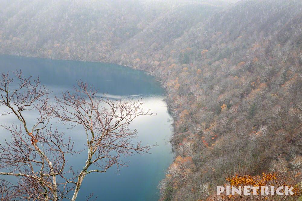 摩周湖 霧 靄 紅葉 第一展望台