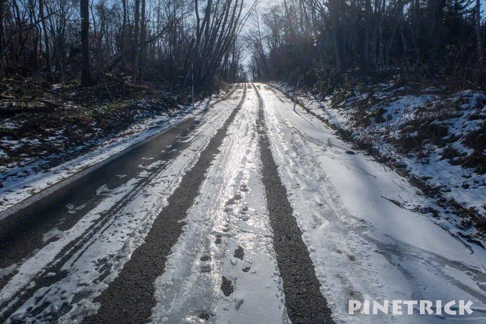 北海道 樽前山 登山 ゲート 凍結 道道141号線