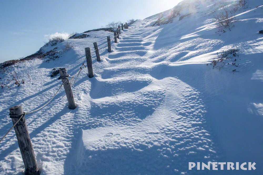 樽前山 登山道 木階段 冬山 北海道