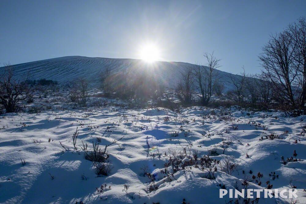樽前山 東山 太陽 日陰 冬山 北海道 お花畑コース