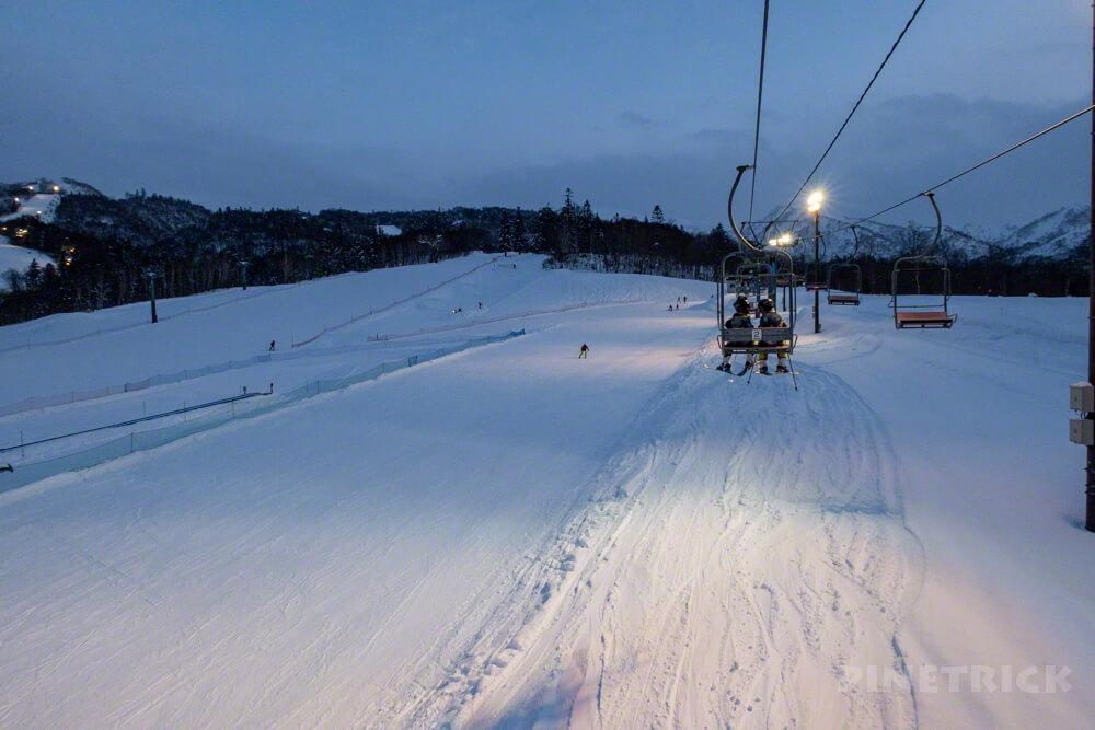 赤井川村 キロロ スキー スノーボード 初級コース リフト ナイター
