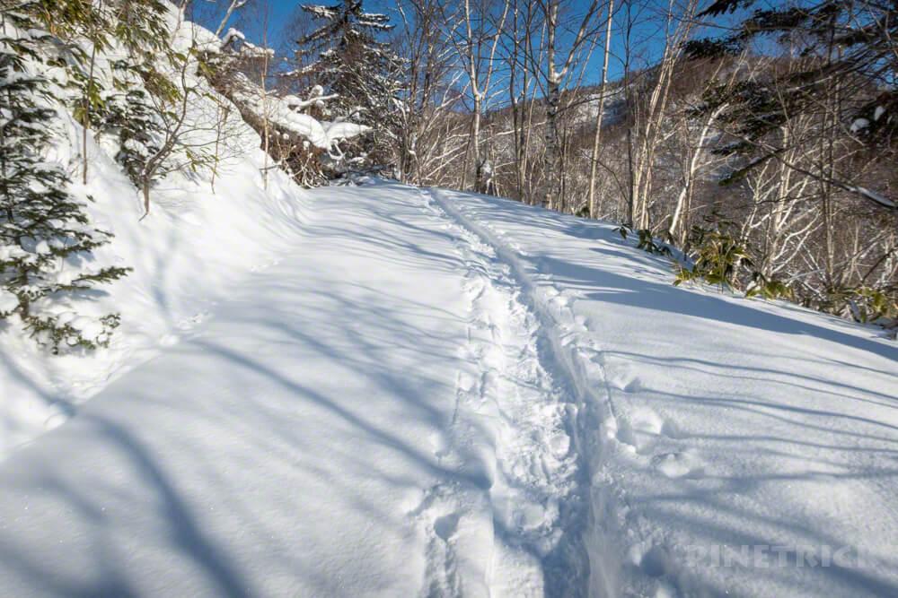 漁岳 登山道 林道 冬山 北海道