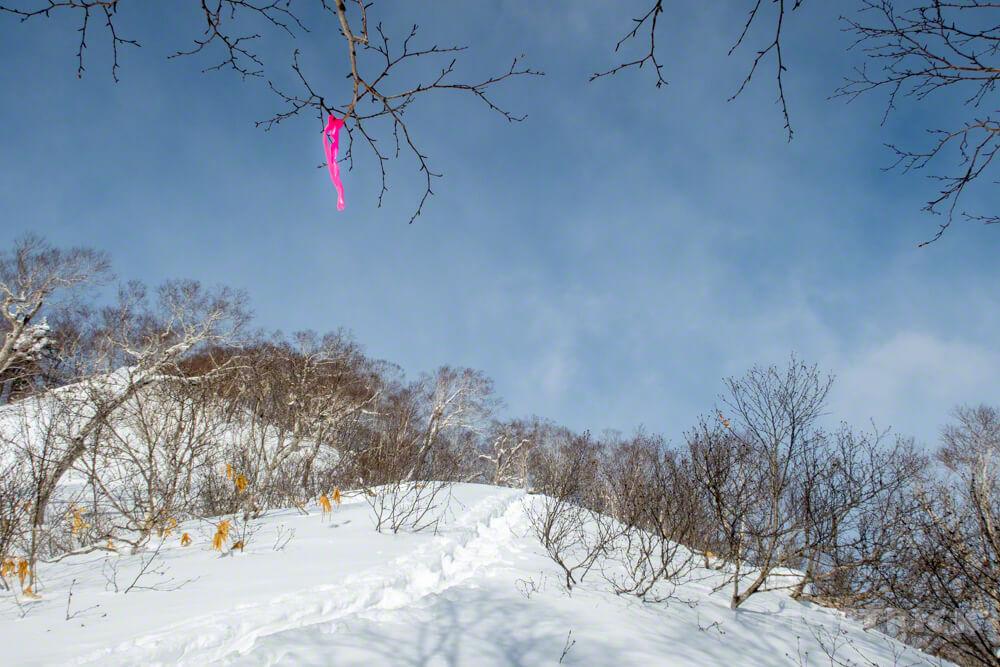 漁岳 冬山 ピンクテープ 登山 トレース 北海道