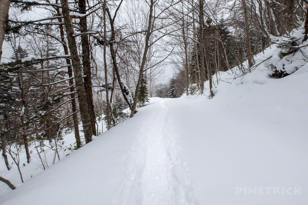 漁岳 登山 冬山 北海道 トレース 林道