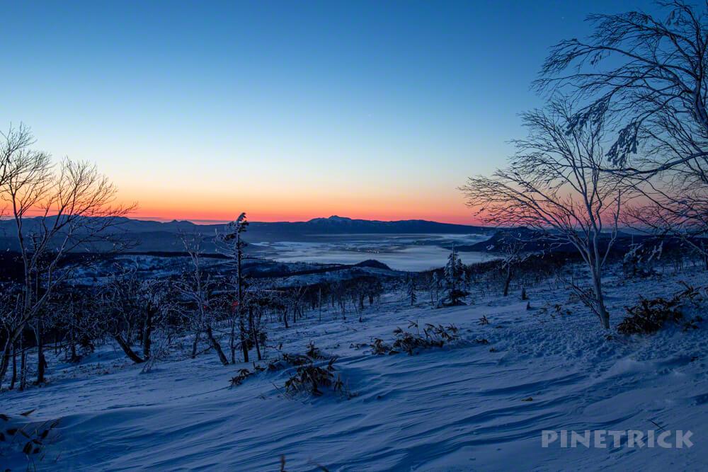 藻琴山 道東 北海道 冬山 樹氷 屈斜路湖 雲海 朝景