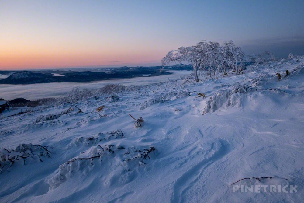 藻琴山 北海道 冬山 登山 ハイランド小清水 樹氷 風紋 屈斜路湖 雲海 日の出
