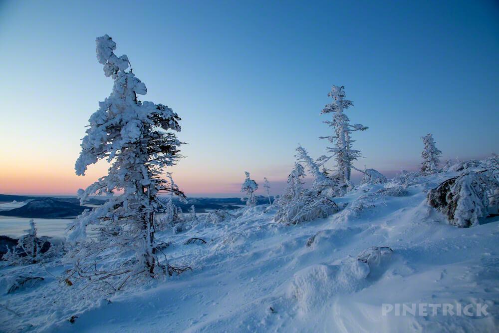 藻琴山 樹氷 北海道 冬山 登山 ハイランド小清水 日の出 ブルーアワー