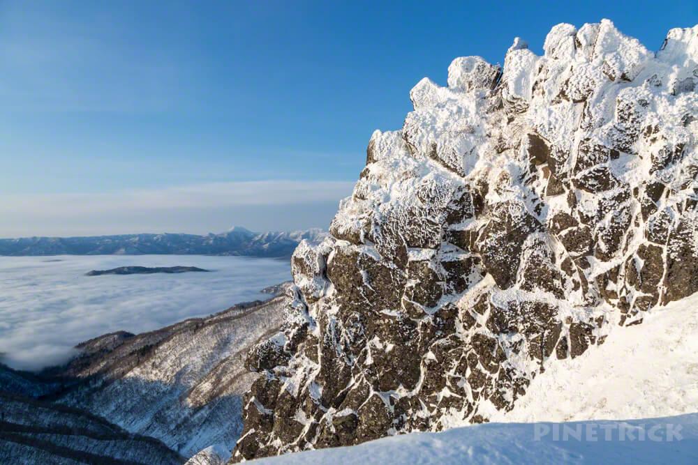 藻琴山 屏風岩 冬山 北海道 登山 稜線 屈斜路湖 中島 雲海