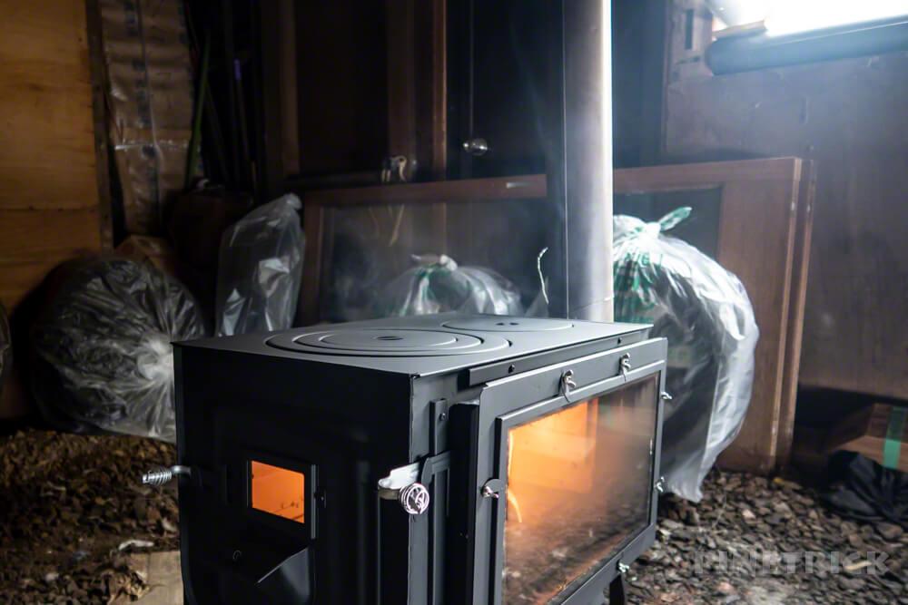 薪ストーブ ロマンチカル薪ストーブ opposite 新保製作所 炎 空焚き 煙