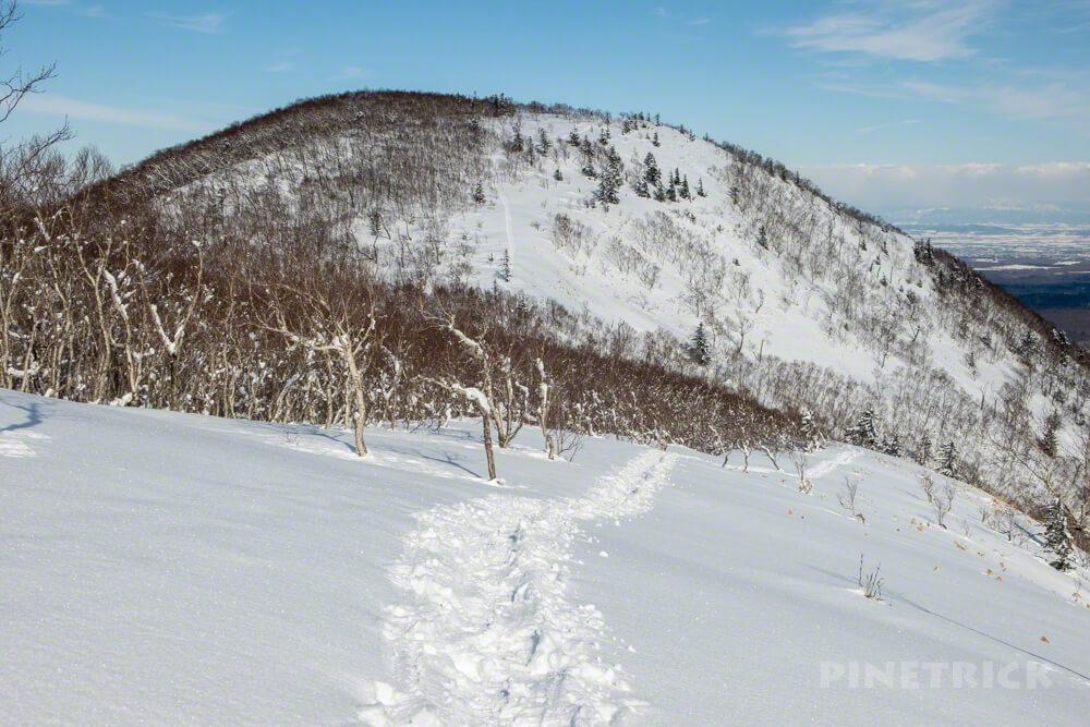 イチャンコッペ山 山頂 トレース 快晴 北海道 冬山 登山