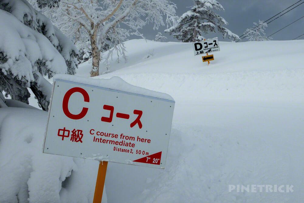 旭岳スキーコース Cコース Aコース 分岐 登山 北海道 冬山 上級者