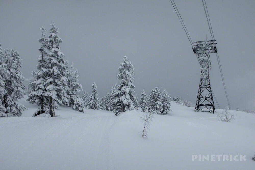 旭岳スキーコース 鉄塔 ロープウェイ 冬山 登山 樹氷 悪天候 曇天