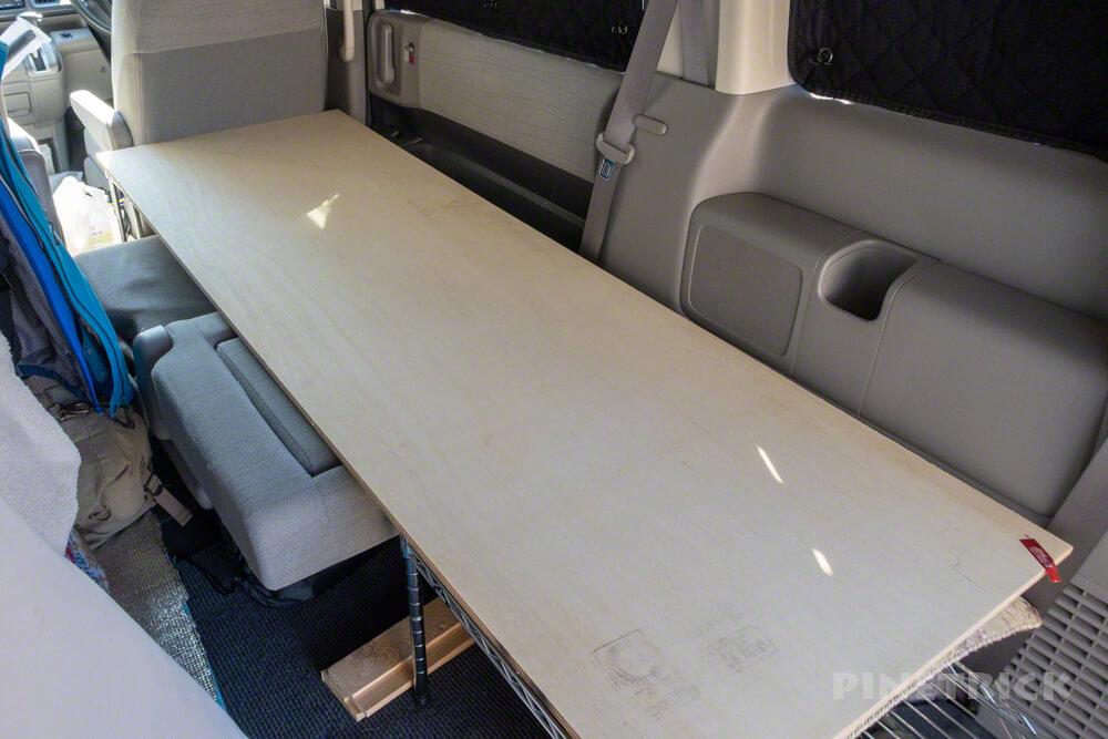 車中泊 快適 スチールラック フラット ステップワゴン ひと工夫 コンパネ 板