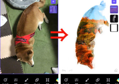 写真加工アプリ スマホ 人気 おすすめ Enlight Photofox 2重合成 多重露光 レイヤー オーバーレイ 消しゴム 透明 背景 お手軽  無料 アート作品 tiff