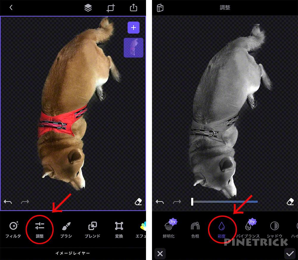 写真加工アプリ スマホ Enlight Photofox  2重合成 多重露光 レイヤー オーバーレイ 消しゴム 透明 彩度