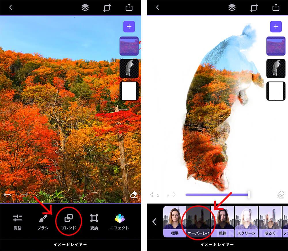 写真加工アプリ スマホ Enlight Photofox  2重合成 多重露光 レイヤー オーバーレイ 消しゴム 透明 背景 お手軽 おすすめ 人気 無料 アート作品